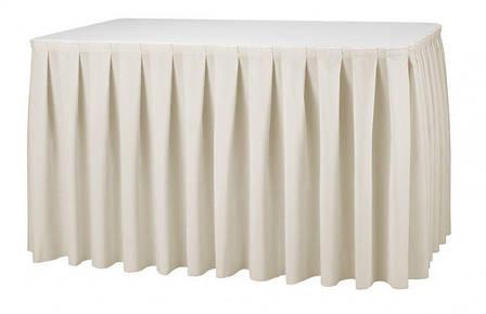 Фуршетная юбка с липучкой 4,10/0,72 Белая для стола 80х120см Стандартной высоты, фото 2