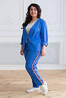 Синий брючный костюм больших размеров из льна Корен