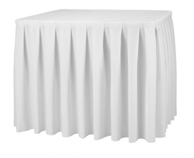 Фуршетная юбка с липучкой 3,70/0,72 Белая для стола 90х90см Стандартной высоты