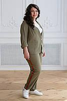 Льняной костюм для полных женщин цвета хаки Корен