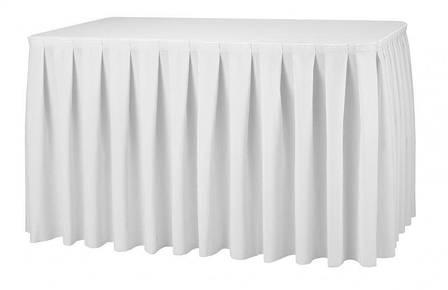 Фуршетна спідниця з липучкою 4,10/0,72 Біла для столу 80х120см Стандартної висоти, фото 2