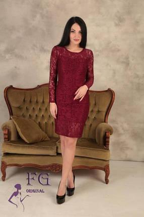 Однотонное женское нарядное платье гипюровое по колено в обтяжку бордовое, фото 2