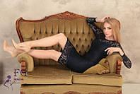 """Кружевное женское платье на выход по фигуре средней длины """"Люсия"""" темно-синее"""
