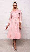 Классическое женское хлопковое платье-рубашка с карманами и рукавом 3/4 7040, фото 1