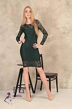 Гипюровое коктейльное платье-футляр миди, длинный рукав темно-зеленое, фото 2