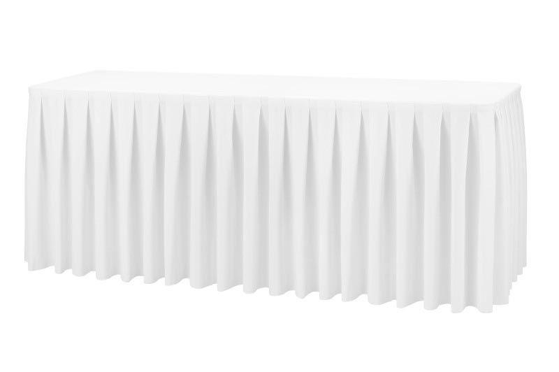Фуршетна спідниця з липучкою 5,50/0,72 Біла для столу 90х180см Стандартної висоти