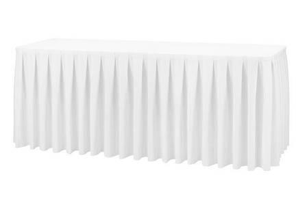 Фуршетна спідниця з липучкою 5,50/0,72 Біла для столу 90х180см Стандартної висоти, фото 2