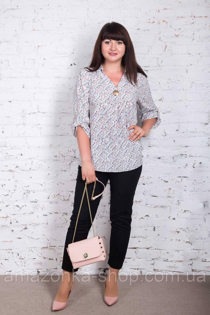 Удлиненная женская блуза больших размеров весна-лето 2018 - Горох - (код бл-172)
