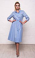 Классическое женское хлопковое платье-рубашка с карманами и рукавом 3/4 7040/1, фото 1