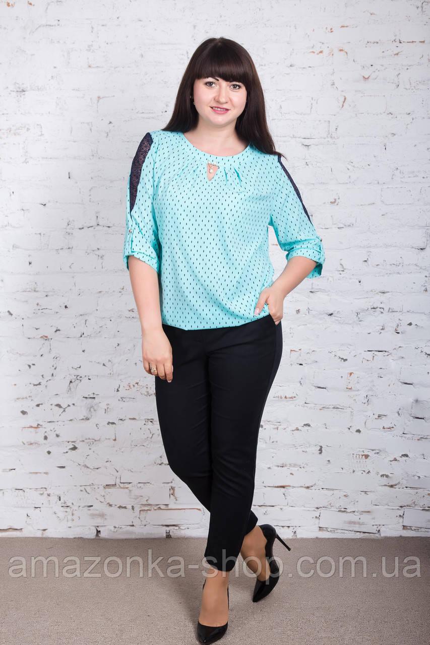 Строгая женская блуза больших размеров весна-лето 2018 - Ажур - (код бл-180)