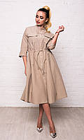 Класичне жіноче бавовняне плаття-сорочка з кишенями і рукавом 3/4 7040/2, фото 1