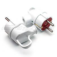 Вилка электрическая с ушком 16A EU с заземлением, угловая