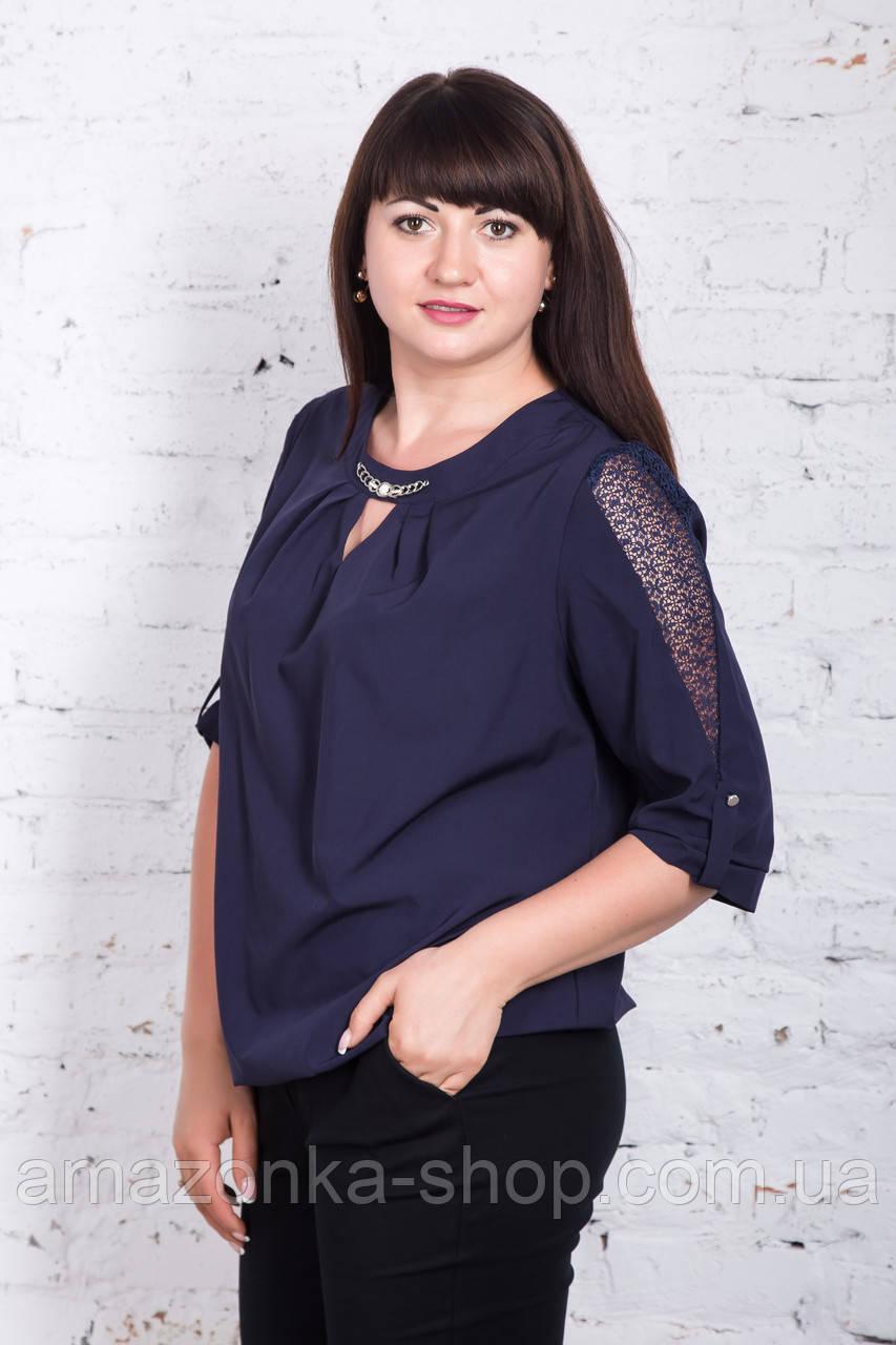 Женская закрытая блуза батальных размеров весна-лето 2018 - (код бл-190)