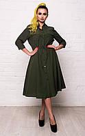 Классическое женское хлопковое платье-рубашка с карманами и рукавом 3/4 7040/4, фото 1