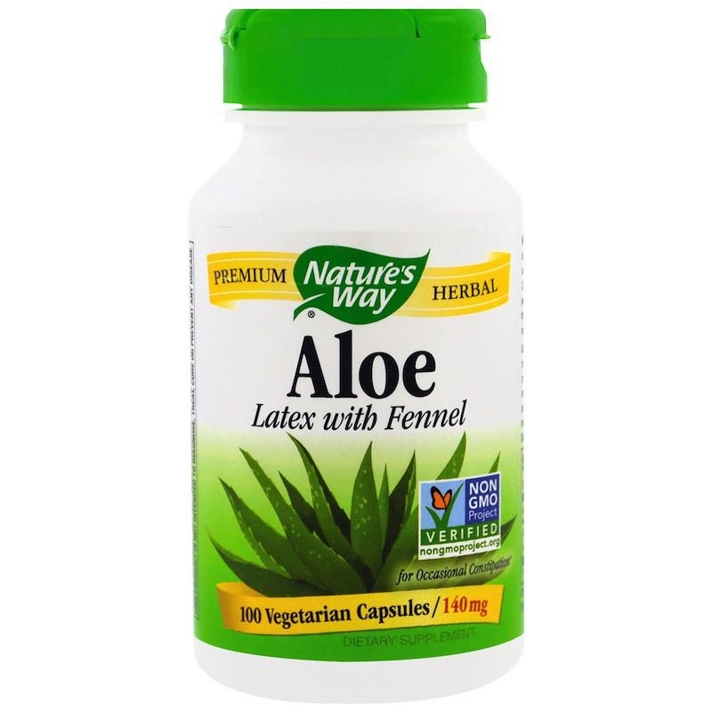 Слабительное Nature's Way, Алоэ, лист и фенхель, 475 мг, 100 вегетарианских капсул