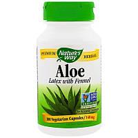Слабительное Nature's Way, Алоэ, лист и фенхель, 475 мг, 100 вегетарианских капсул, фото 1