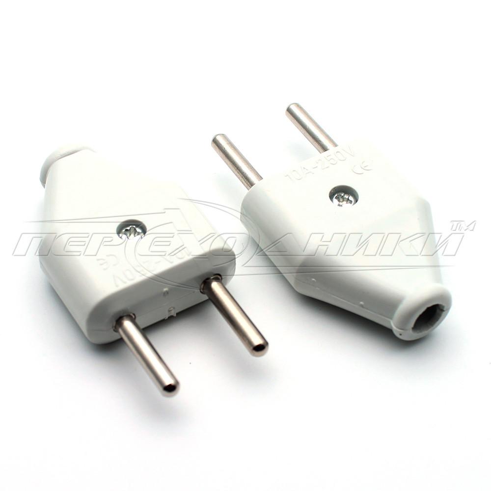 Вилка электрическая плоская 10A EU, прямая (тип 2)