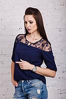 Нежная женская блузка 2018 с ажурной вышивкой - (код бл-196)