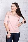 Нежная женская блузка 2018 с ажурной вышивкой - (код бл-196), фото 7