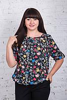 Женская блуза с цветочным принтом весна-лето 2018 - (код бл-197)