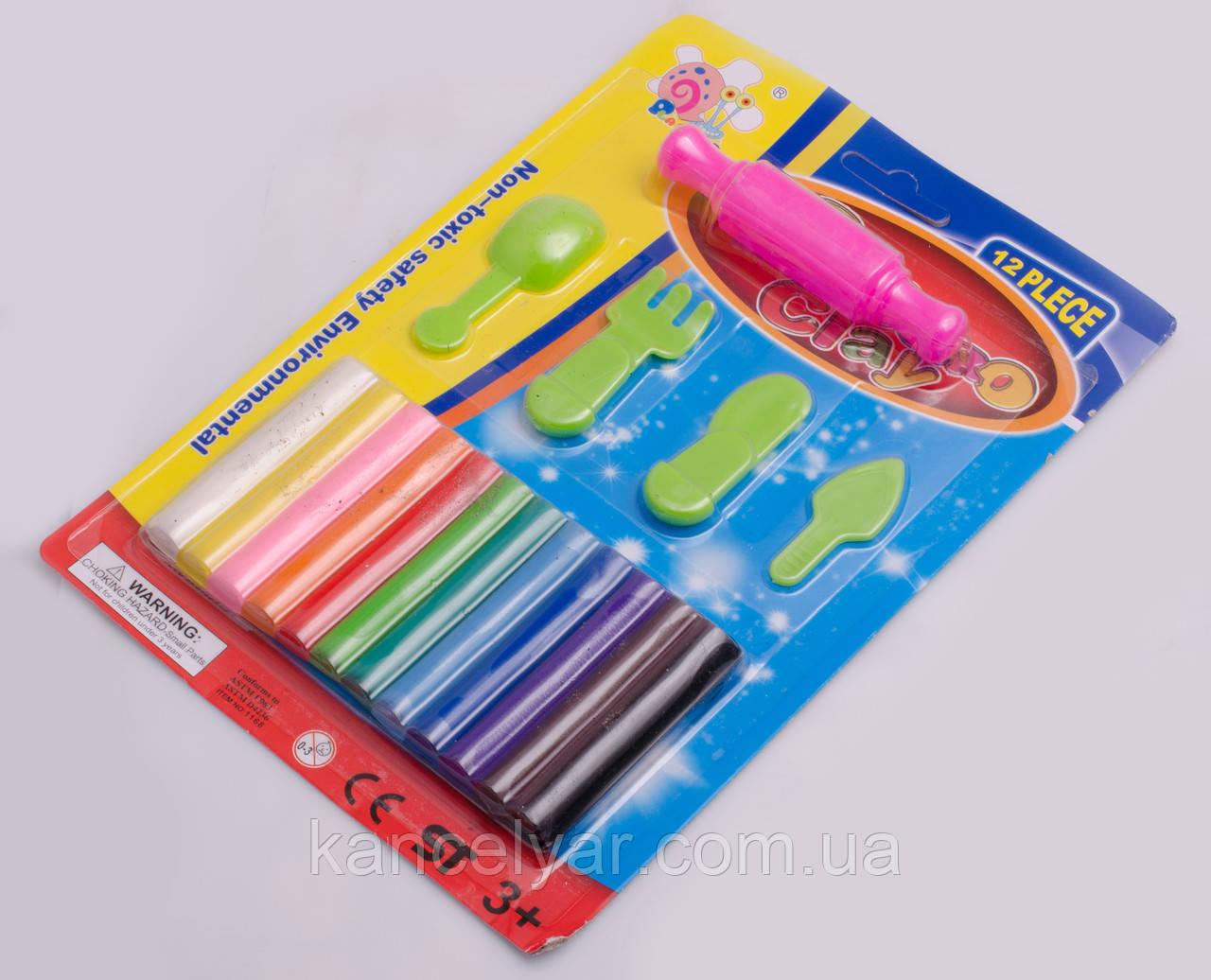 Пластилін восковий: 12 кольорів + формочки