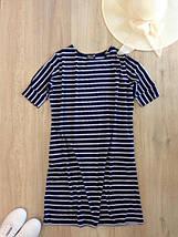 Летнее платье тельняшка с поясом и карманами рукав 3/4 с разрезом большие размеры, фото 3