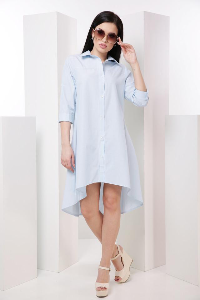 9464333a027 Летнее легкое платье-рубашка с удлиненной спинкой с рукавом 3 4. Воротник  отложной. Длина рукава регулируется патами. Длина изделия  полочка - 88  см.