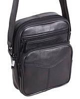 Кожаная мужская сумка 600-133 черная барсетка через плечо натуральная кожа 18х15х6см, фото 1