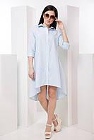 Асимметричная  летняя рубашка с удлиненной спинкой и рукавом 3/4 7042/1, фото 1