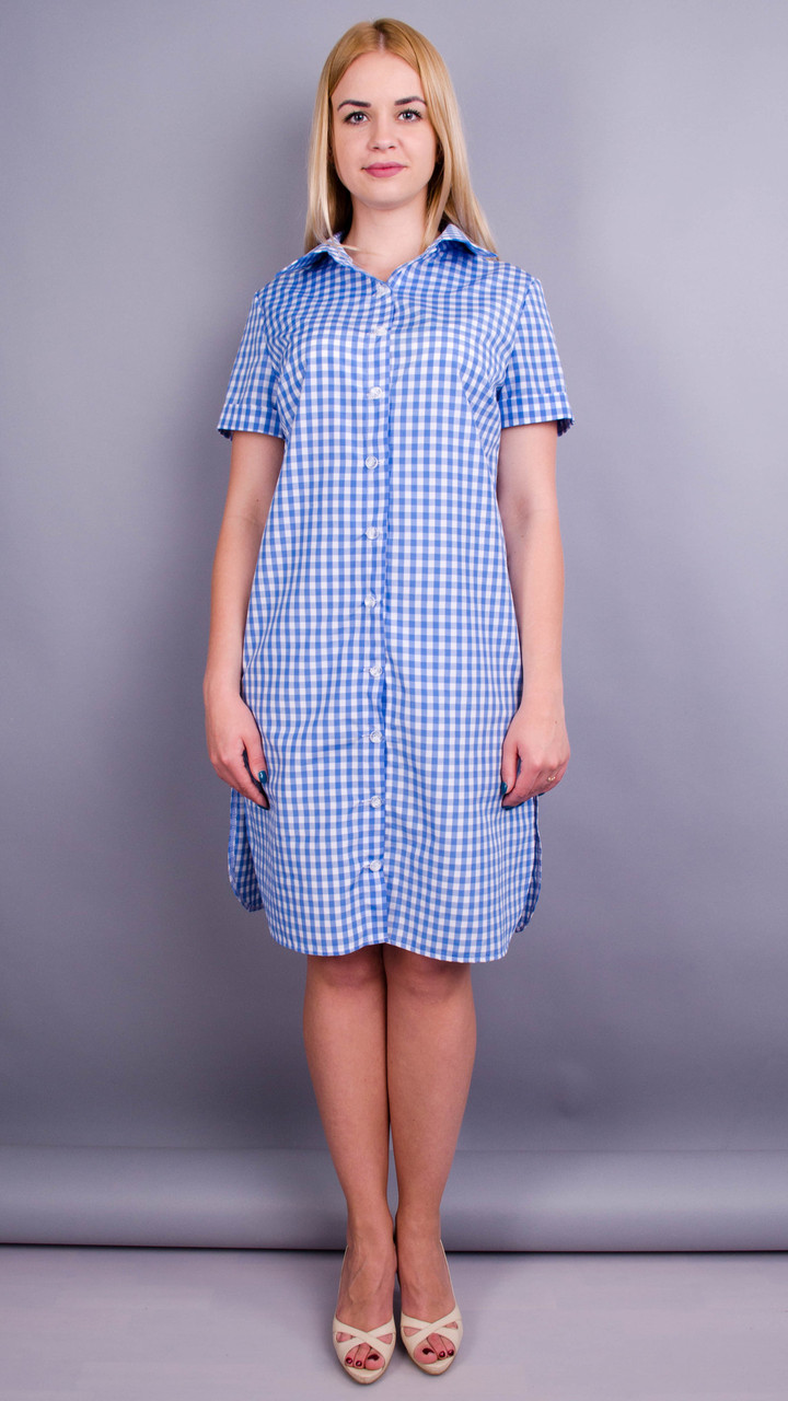 Ірина. Стильна сукня-сорочка великих розмірів. Клітинка блакитна 50 52 54  56 58 17ed8462dd752