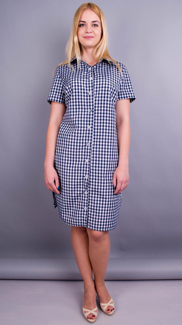 Ірина. Стильна сукня-сорочка великих розмірів. Клітинка синя.50 52 54 56 4d3ac7307be6b