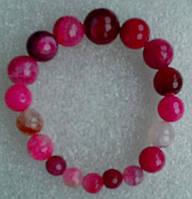 Браслет натуральный граненый Агат розовый 8-17мм