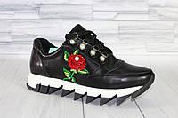 Кроссовки с вышивкой. Натуральная кожа 1884, фото 1