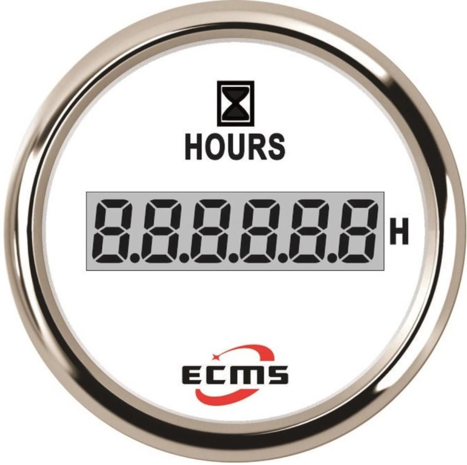 Лічильник мотогодин ECMS CLH2-WS-HS 52мм білий 801-00055 СЕРІЯ ЕКОНОМ
