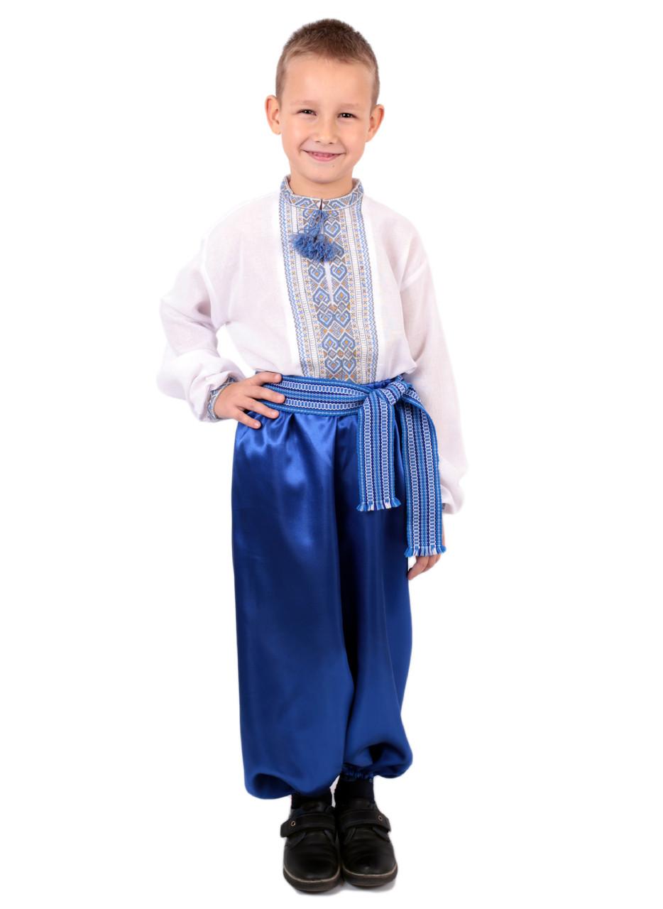Дитяча сорочка для хлопчиків з голубим орнаментом на домотканому