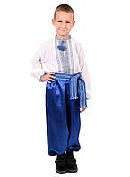 Дитяча сорочка для хлопчиків з голубим орнаментом на домотканому, фото 1