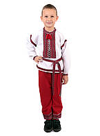 Дитячий етнічний костюм вишитий червоного кольору на габардині 6c8568cebbb18