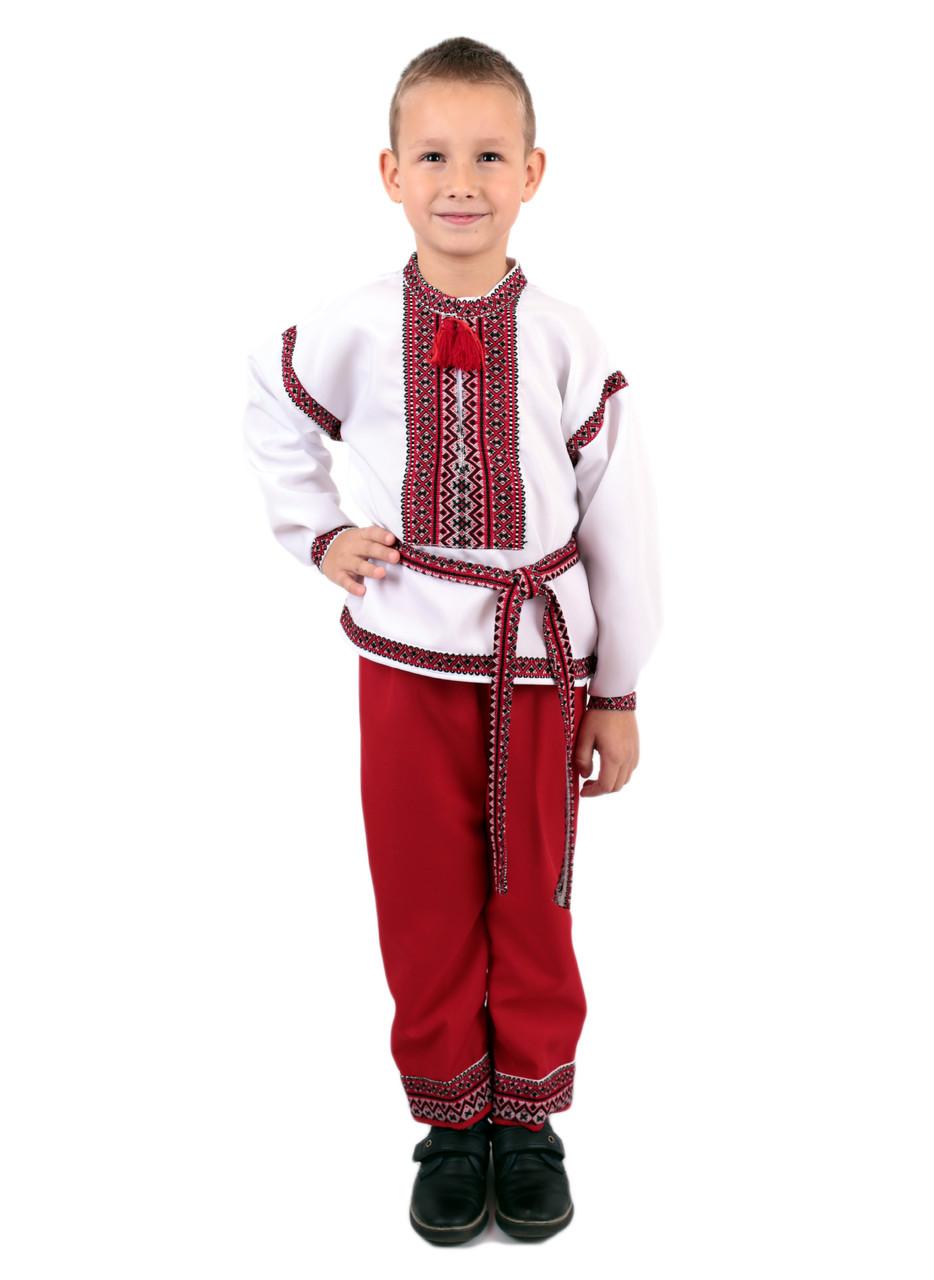 Дитячий етнічний костюм вишитий червоного кольору на габардині -  Інтернет-магазин вишиванок для всієї сім 7f8d326ceb085