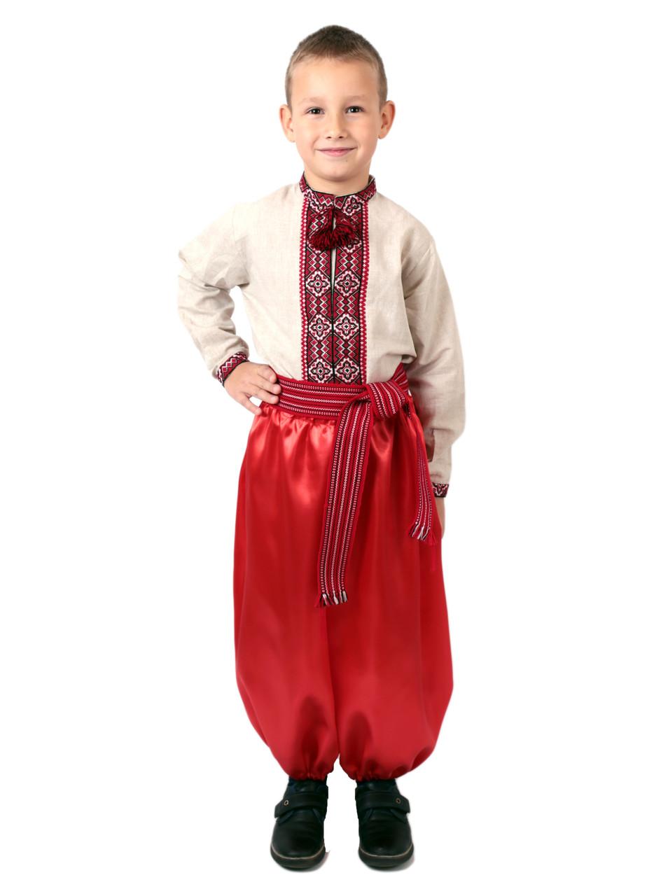 Дитяча лляна сорочка для хлопчиків з червоним орнаментом