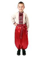 Дитяча лляна сорочка для хлопчиків з червоним орнаментом, фото 1