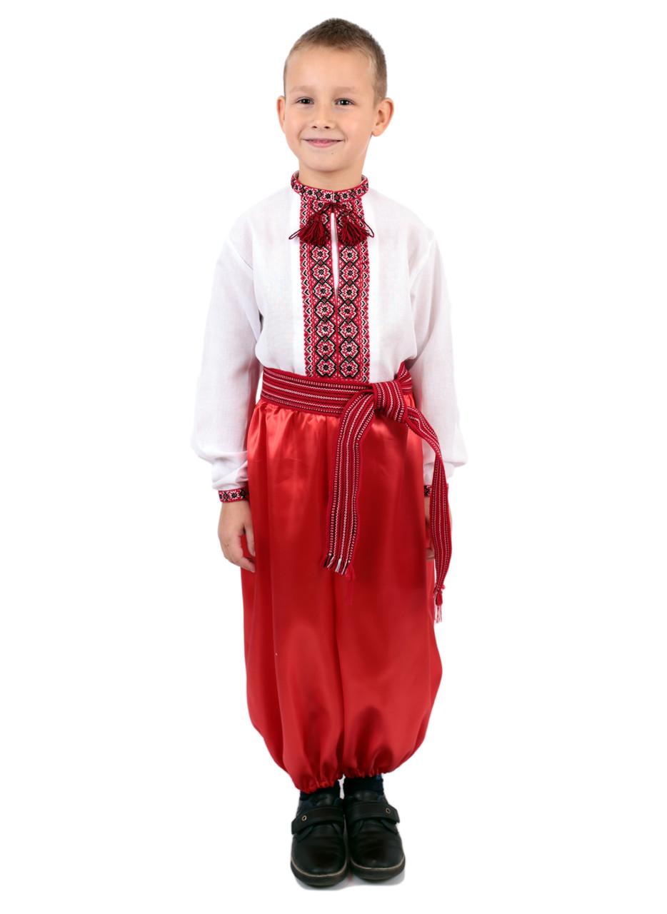 Дитяча сорочка для хлопчиків з червоним орнаментом на домотканому