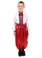 Дитяча сорочка для хлопчиків з червоним орнаментом на домотканому, фото 1