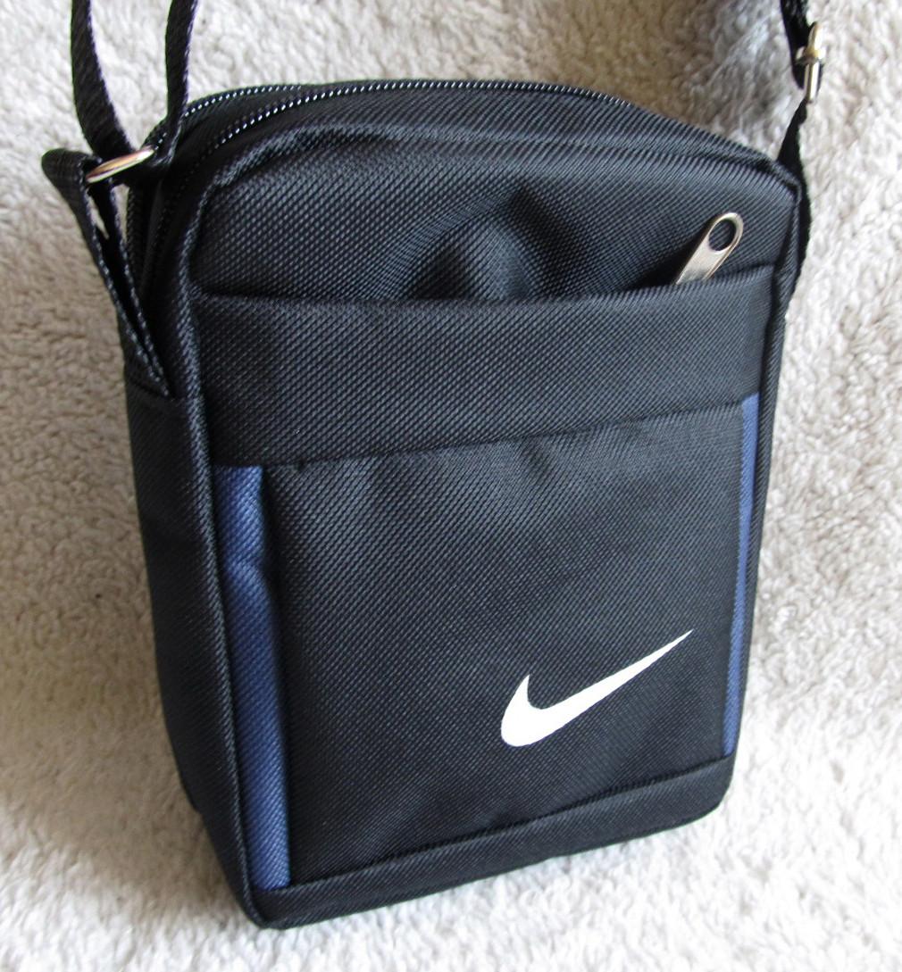 6f1c869690bc Сумка через плечо спортивная мужская женская барсетка Найк черная с синим  19х15х6см