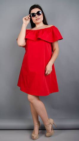Балі. Модне плаття з воланом великих розмірів. Червоний Розмір 50 52 54 56  58 ca4053bf22184