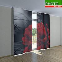 Японские фотошторы красный цветок