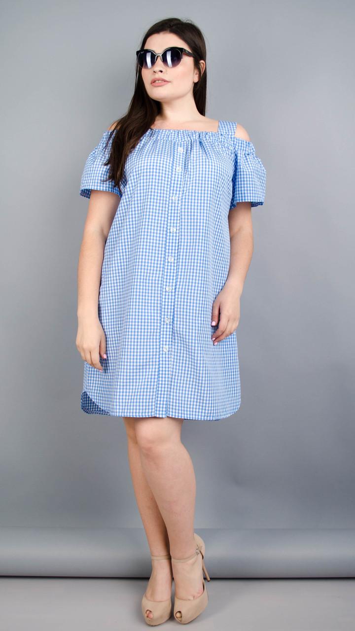 Клариса. Гарна сукня-сорочка плюс сайз. Блакитна клітинка Розмір 50 52 54 56 9d662377980a5