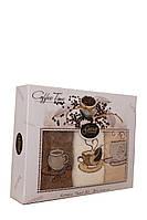 Набор из 3-х махровых кухонных полотенец с вышивкой Gursan. Coffee