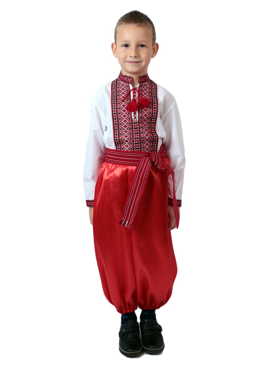 Дитяча сорочка для хлопчиків з червоним орнаментом на попліні