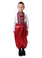 Дитяча сорочка для хлопчиків з червоним орнаментом на попліні, фото 1