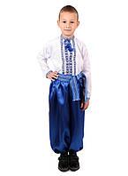 Дитяча сорочка для хлопчиків з голубим орнаментом на попліні, фото 1